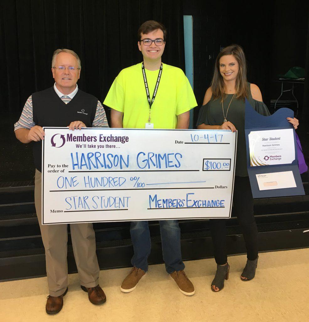 Harrison grimes receives star student award mecu.