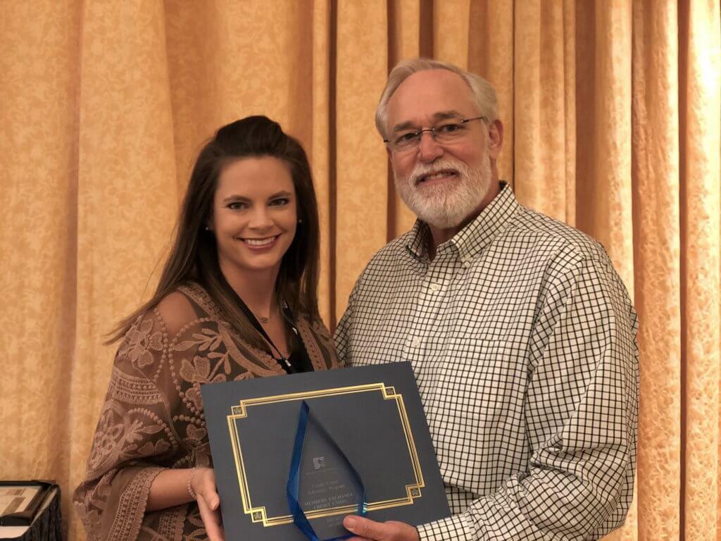 MECU receives Advocacy Award. Pictured: Angela Mitchell & Charles Elliott.