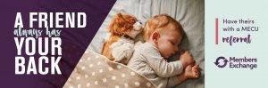 baby with puppy cuddling asleep